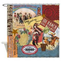 vintage western collage shower curtain by