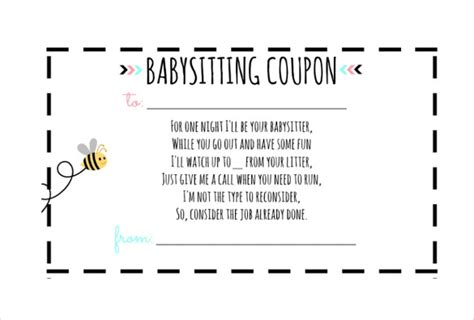 10 Baby Sitting Coupon Templates Free Sle Exle Format Download Free Premium Templates Free Babysitting Coupon Template