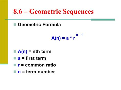 geometric number pattern formula 8 6 geometric sequences ppt download
