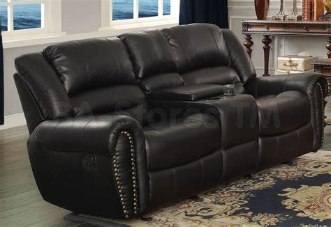 center hill reclining loveseat with console black