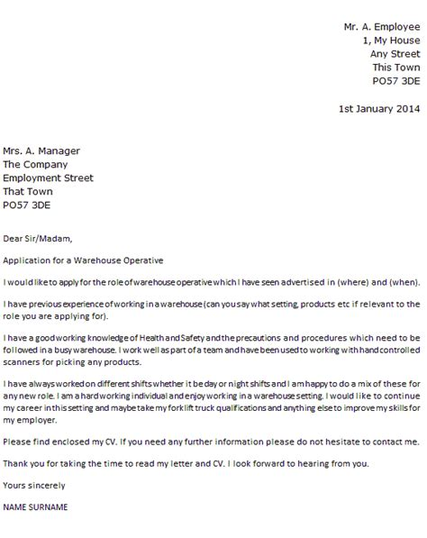 how to start a covering letter uk warehouse operative cover letter exle icover org uk