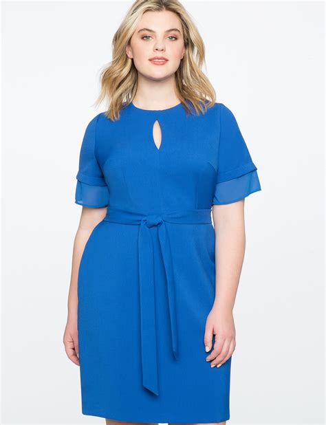 Sleeve Tie Front Dress tie front dress with layered sleeve s plus size
