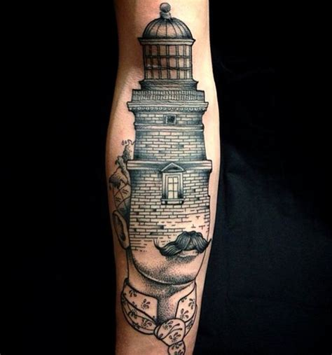unusual designed black and white half man half lighthouse