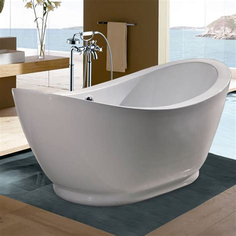 Bathtub With Center Drain by Shop Aquatica Purescape Acrylic High Gloss White Oval