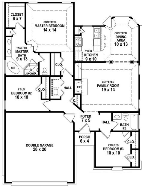 3 Bedroom 2 Bath House Plans 654343 Traditional 3 Bedroom 2 Bath House Plan House