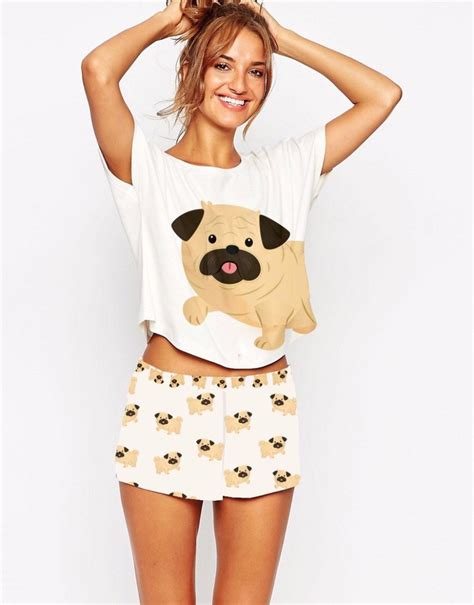 pug pajamas dds pug pajamas set crop top shorts daily style