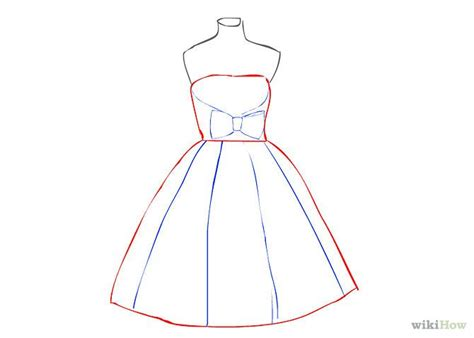 design dress step by step 2 5 draw a vertical line from top to bottom of the skirt