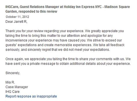 Reservation Letter And Response Hotel Responses To Reviews Ihg Social Listening Loyaltylobby