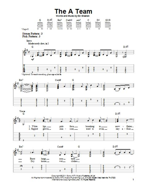 Ed Sheeran Easy Chords | the a team by ed sheeran easy guitar tab guitar instructor