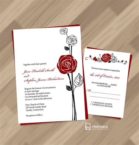 red printable wedding invitation kits free pdf download red rose invitation and rsvp easy to
