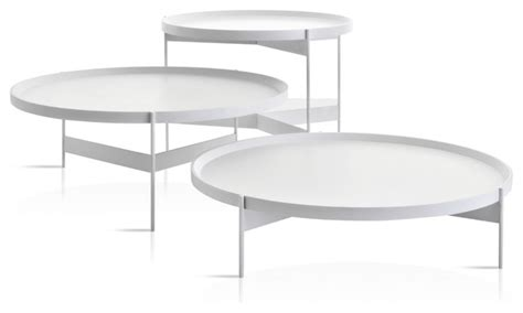 Abaco Modern Round Cocktail Table, Portable Tray   Contemporary   Coffee Tables   by Studio
