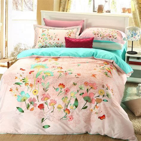 pink flower comforter elegant style light pink floral print bedding set