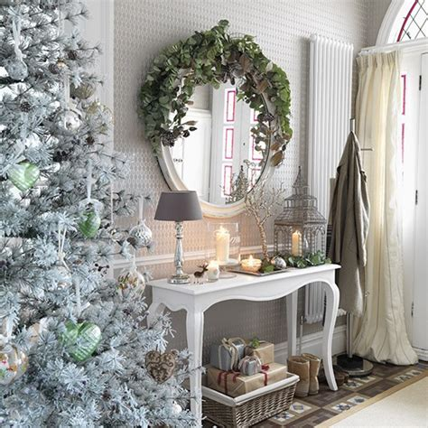 ideal home interiors white hallway with metallic decorations christmas