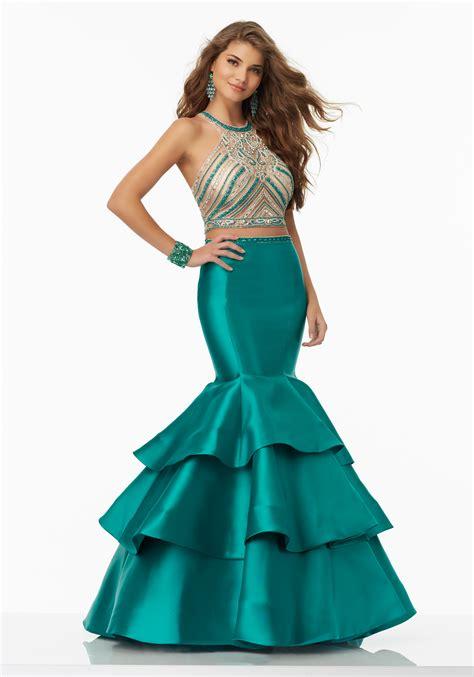 Larissa Dress 2 two prom dress with larissa satin skirt style
