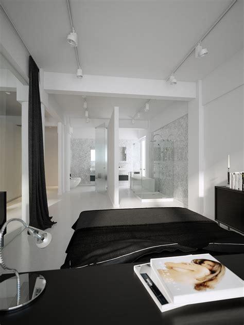 bedroom bathroom modern minimalist black and white lofts
