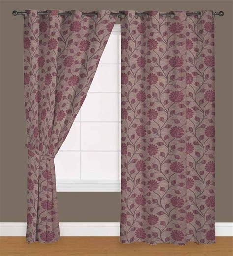 9 ft long curtains presto wine colour floral jacquard eyelet long door
