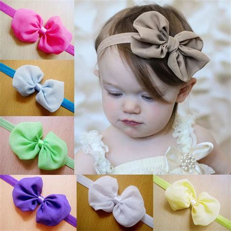 retail baby chiffon bow headbands solid color infant hair bows hair accessories drop