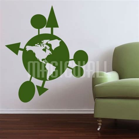 green wall stickers wall decals green earth wall wall stickers