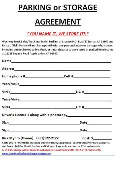 self storage rental agreement template garage lease agreement sle beautiful home