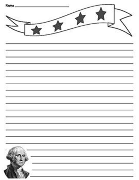 presidents day writing paper patriotic president george washington lined paper