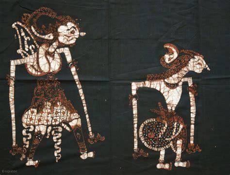 figure jogja javanese batik wall hanging with wayang figures origin