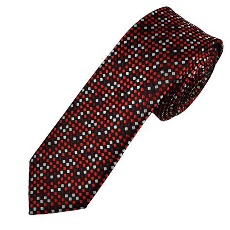 grey pattern tie black grey shades of red woven patterned narrow men s