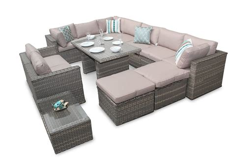 patio sectional sofa set rattan corner sofa garden furniture manchester 7pc natural