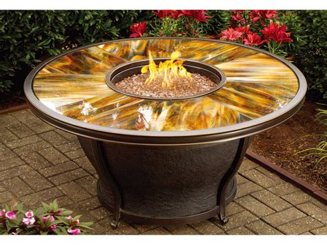 unique stone table with fireplace completing outdoor oakland living moonlight aluminum 48 round gas firepit