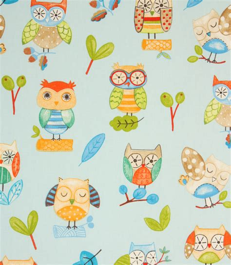 Owl Upholstery Fabric by Ollie Owl Fabric Watercolour Just Fabrics
