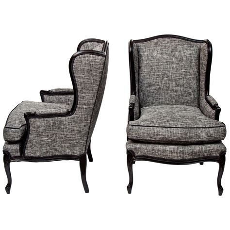 wingback bench pair of tall wingback chairs at 1stdibs