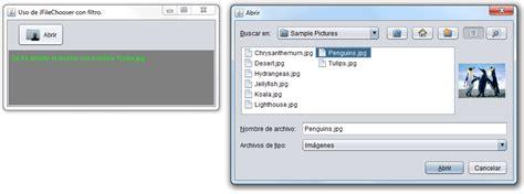 swing filechooser tutoriales java uso b 225 sico de elementos swing con