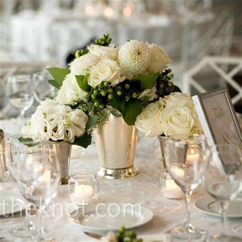 classic silver vase centerpieces for anniversary party
