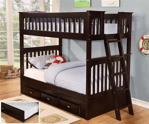 twin over twin bunk beds discovery world furniture twin over twin espresso bunk