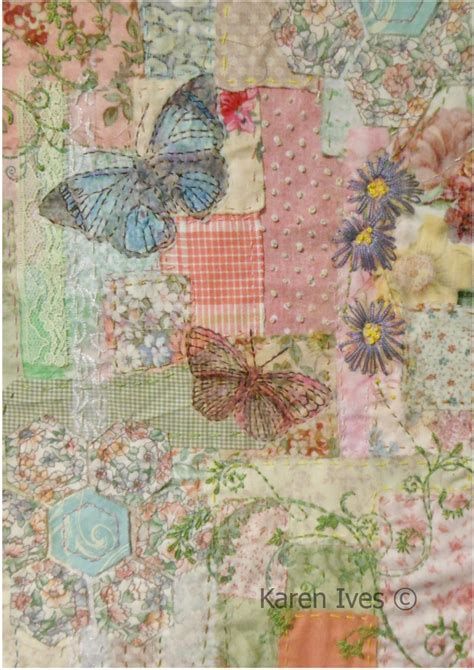 Antique Patchwork Quilt - vintage garden patchwork and embroidery from ives