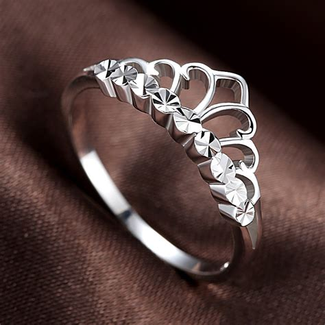 korean version of the simple crown moldings 925 sterling silver engagement ring engagement ring