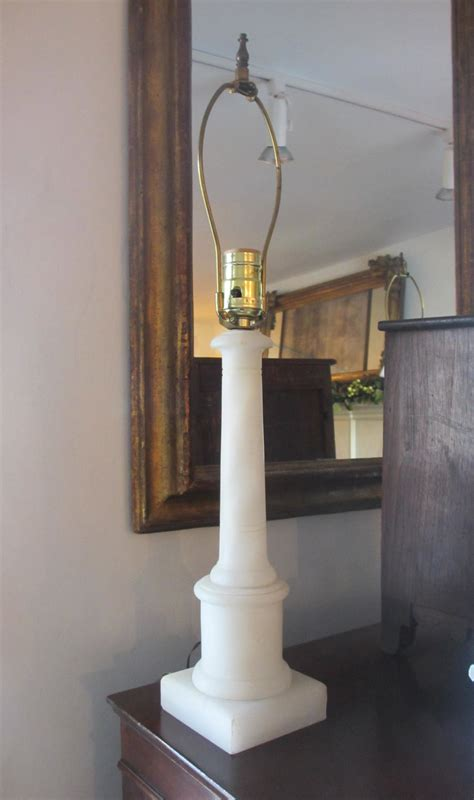 pair  vintage marble column table lamps