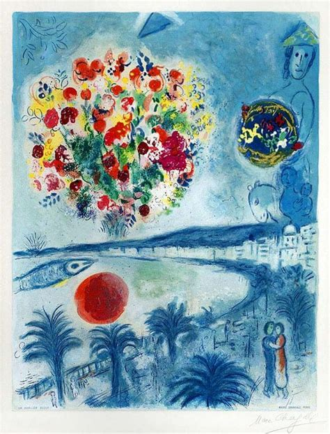Collection Puzzle 300 Pcs Bouquet De Soleils signed marc chagall lithograph sunset from the and the c 244 te d azur series 1967 marc