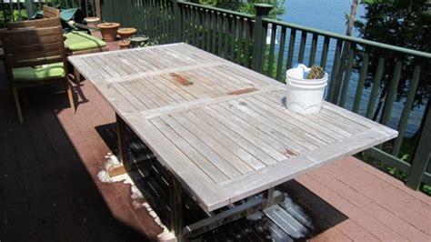 restoring  weathered teak table   builder