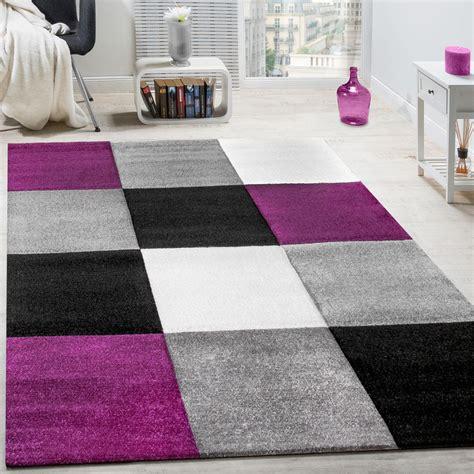 tappeto moderno tappeto moderno soggiorno pelo corto motivo quadri lilla