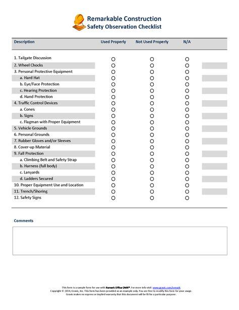 observation report template safety observation checklist 183 remark software