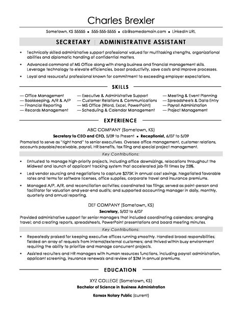 Receptionist Resume Examples by Secretary Resume Sample Monster Com