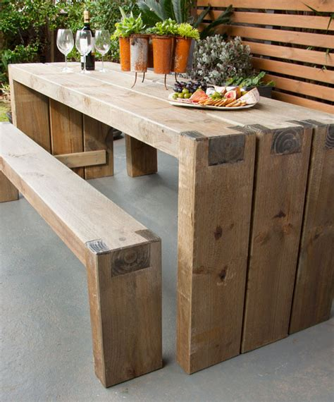 outdoor tables how to create an outdoor table and benches better homes