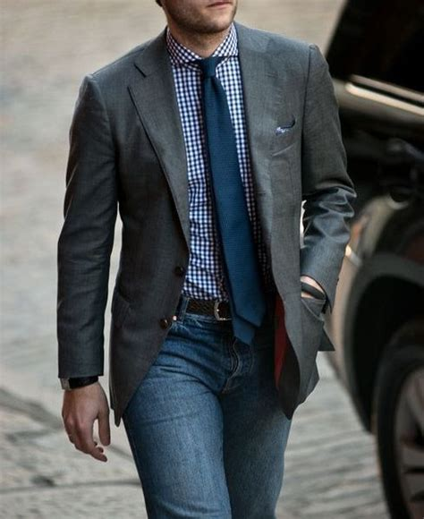 Jaspria Jaket Casual Comby Style grey jacket blue shirt tie and