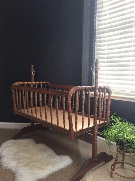 Lind Spindle Crib by Vintage Wooden Rocking Lind Baby Crib Spindle