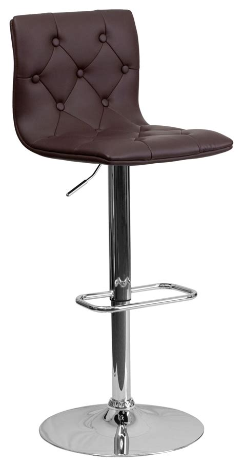 tufted bar stools tufted brown adjustable height bar stool from renegade