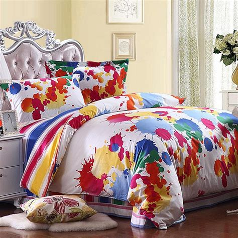 paint splatter comforter yellow red blue and white colorful splatter paint bohemian
