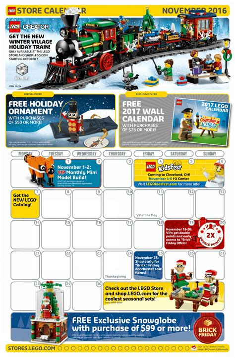 lego store calendar december 2017 here s a look at lego store s november calendar the