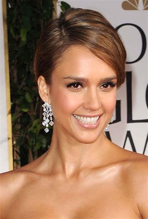 bridesmaid hairstyles jessica alba classic wedding updo with side part jessica alba at the