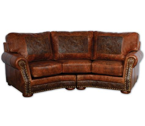 Western Leather Sofa Cameron Ranch Curved Sofa