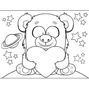 space monster coloring page space monster holding heart coloring page